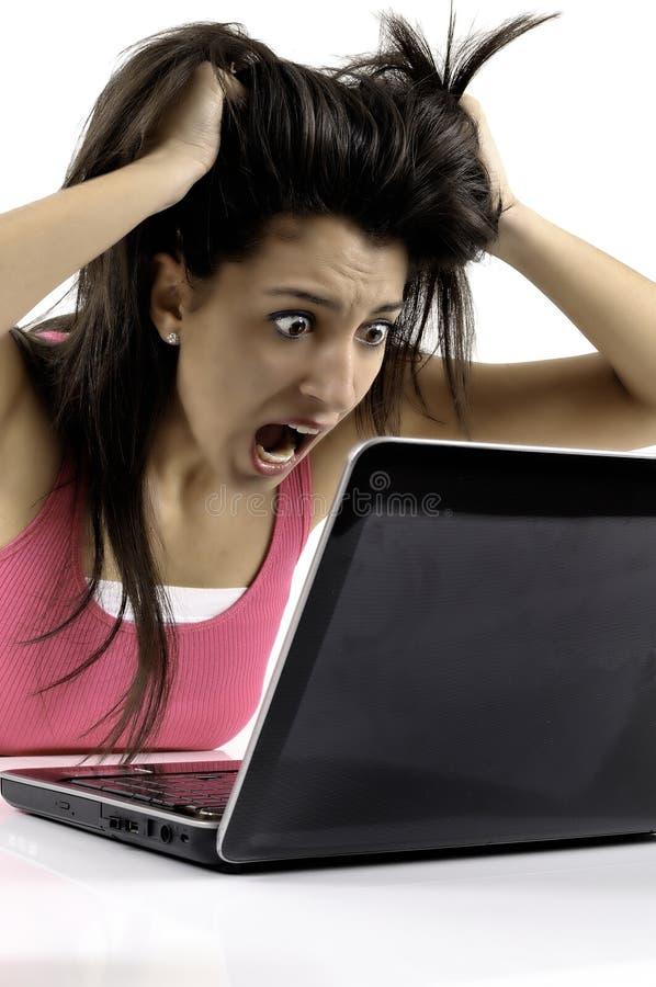 Pânico da mulher de negócio imagens de stock royalty free