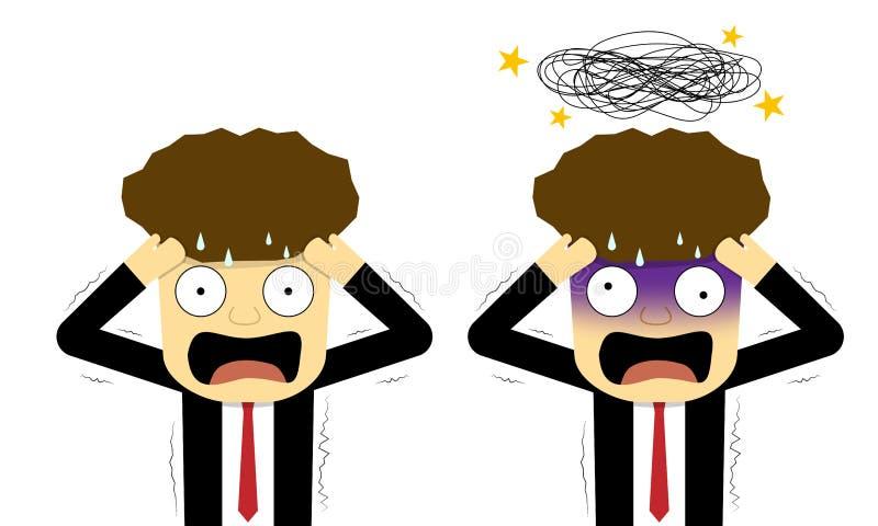 Pânico e homem de negócios confuso no plano, arte do vetor ilustração do vetor