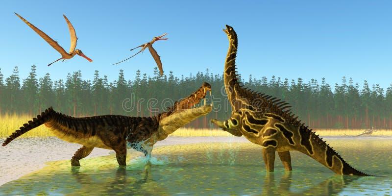 Pântano de Kaprosuchus ilustração stock