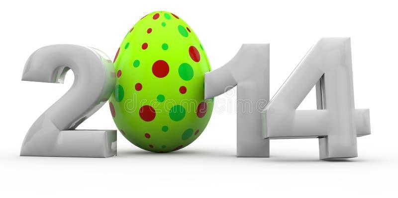 Pâques 2014 avec l'oeuf de pâques illustration de vecteur