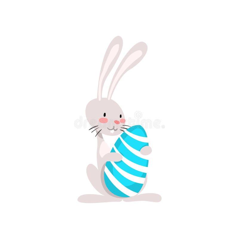 Pâques blanche mignonne Bunny Holding Egg, illustration drôle de vecteur de personnage de dessin animé de lapin illustration libre de droits