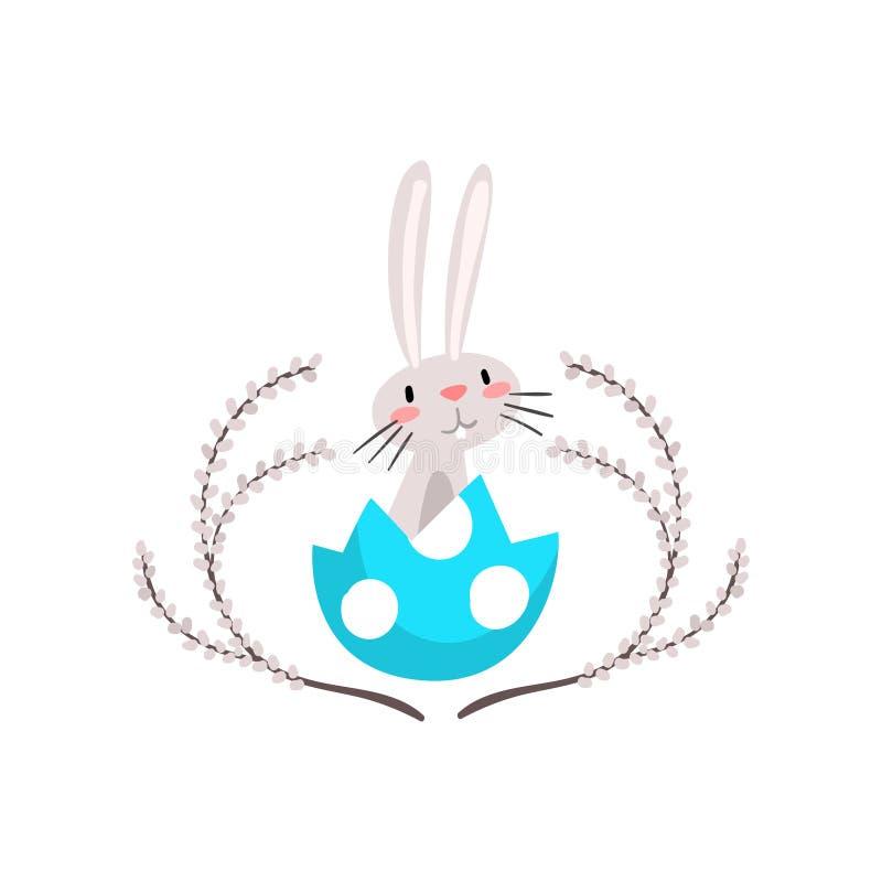 Pâques blanche mignonne Bunny Sitting en oeuf Shell, personnage de dessin animé drôle de lapin avec Willow Twigs Vector Illustrat illustration libre de droits
