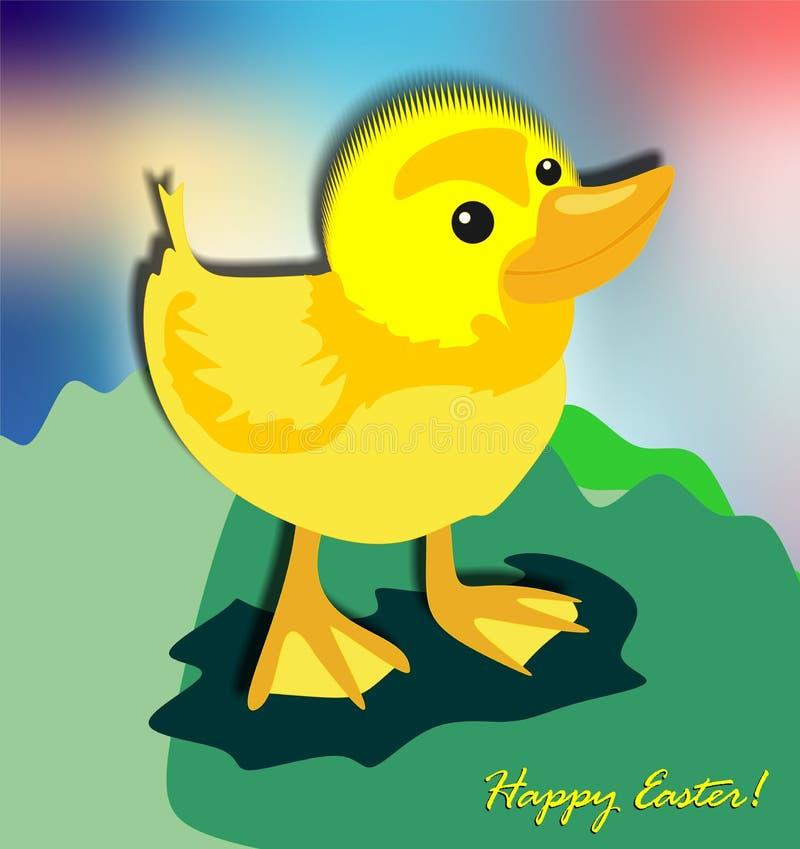 Pâques drôle et petit poussin jaune illustration libre de droits