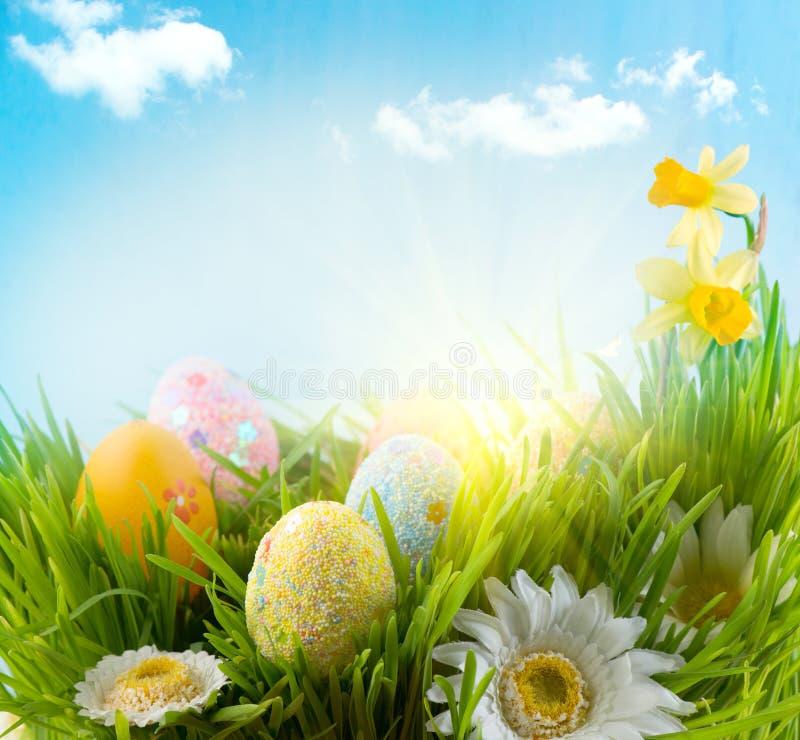 Pâques Herbe colorée d'oeufs au printemps image libre de droits