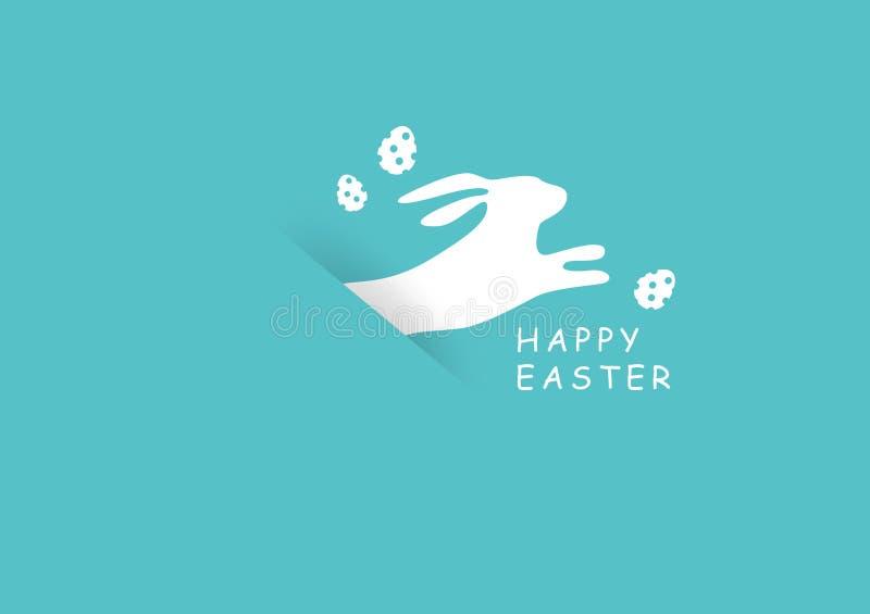 Pâques, lapin avec le fond saisonnier de vacances d'oeufs, illustration minimale de vecteur de style de coupe de papier d'affiche illustration de vecteur