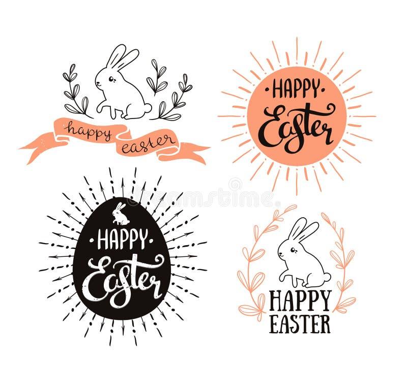 Pâques a placé avec le lettrage, le rayon de soleil et le lapin Illustration de vecteur Cartes de voeux illustration stock