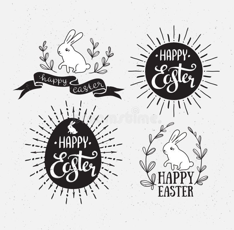 Pâques a placé avec le lettrage, le rayon de soleil et le lapin Illustration de vecteur Cartes de voeux heureuses de Pâques illustration libre de droits