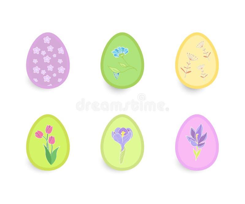 Pâques a placé de beaux oeufs avec les modèles floraux illustration de vecteur