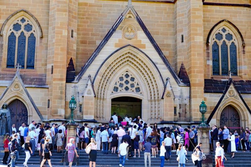 Pâques se serre en dehors de la cathédrale du ` s de St Mary, Sydney, Australie photo libre de droits