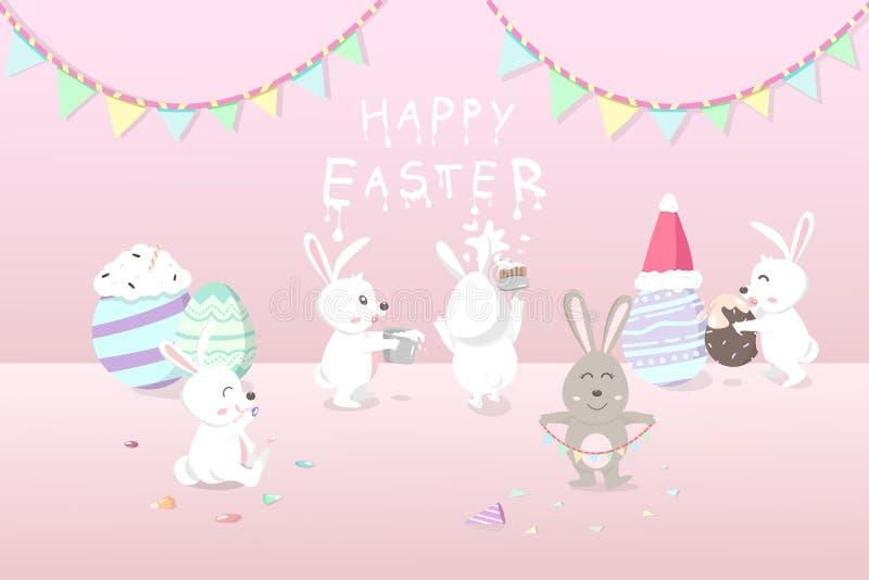 Pâques, vacances de carte de voeux, lapins décorent la salle pour célèbrent la partie avec la fantaisie fleurie d'oeufs, invitati illustration stock
