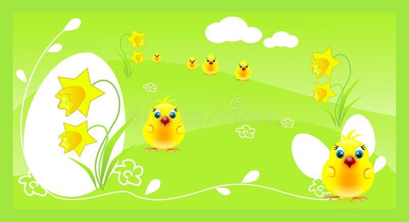 Pâques verte avec les poulets jaunes illustration stock