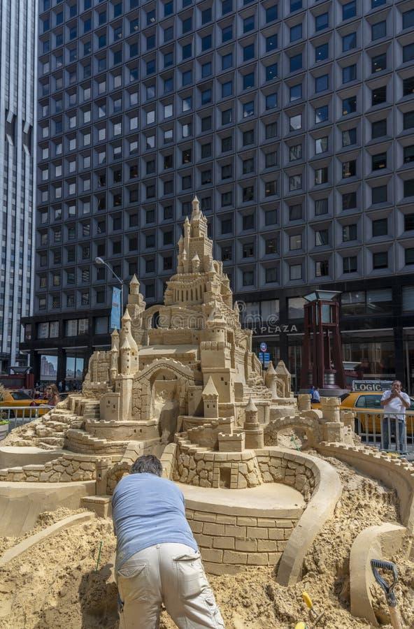 Pâté de sable modelant à Manhattan, New York photographie stock
