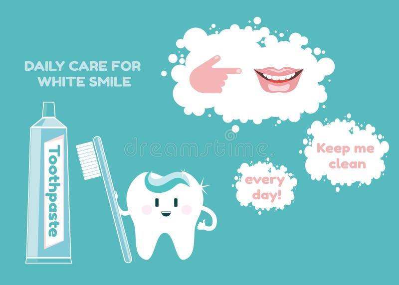 Pâte dentifrice, brosse à dents, sourire blanc comme neige et illustration de vecteur