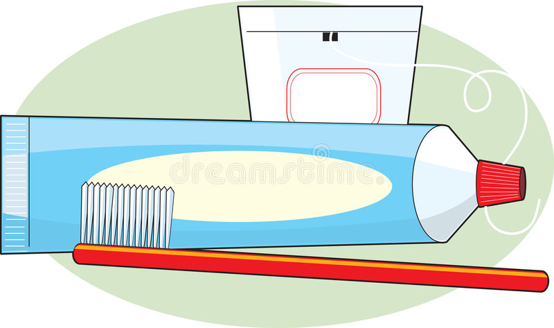 Pâte dentifrice et balai illustration stock