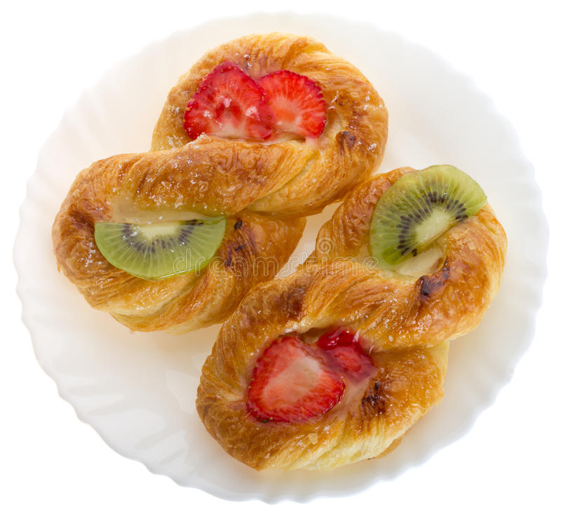 Pâte feuilletée avec le kiwi et la fraise images stock