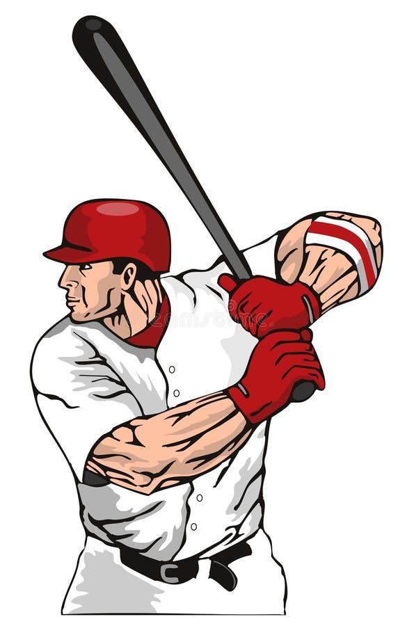 Pâte lisse de base-ball heurtant la bille illustration libre de droits