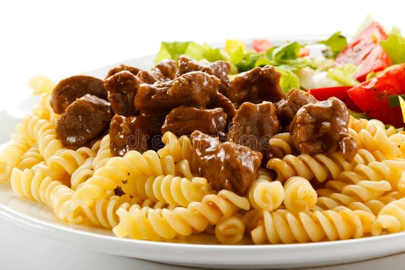 Pâtes avec de la viande photo stock