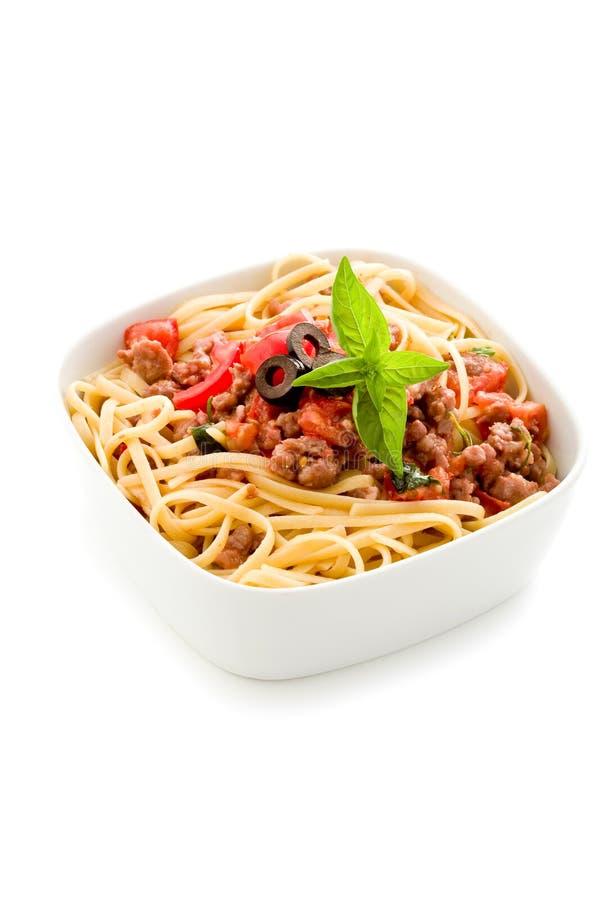 Pâtes avec la saucisse italienne images libres de droits
