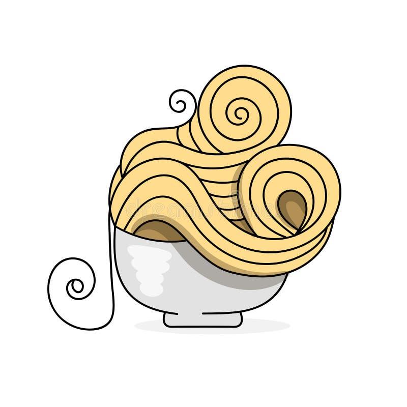 Pâtes délicieuses dans un logo de vecteur de plat pour le vecteur de empaquetage illustration libre de droits