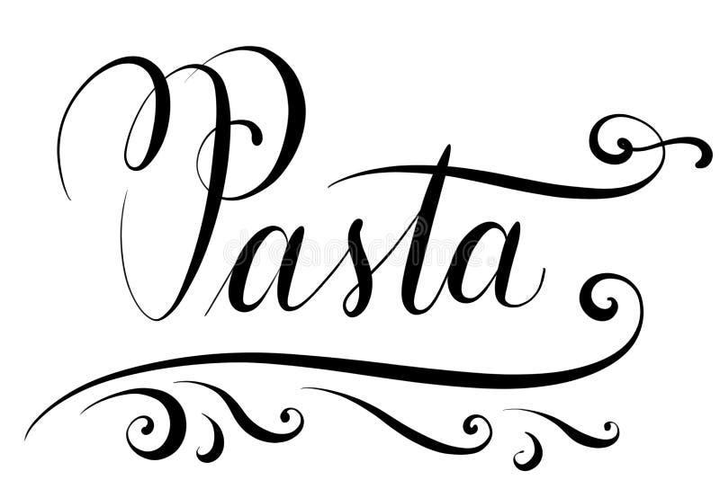 Pâtes des textes de Handlettered pour la carte de menu dans les restaurants illustration stock