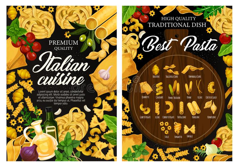 Pâtes italiennes, menu de restaurant de cuisine de l'Italie illustration stock