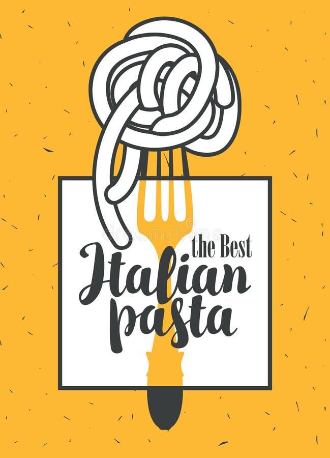 Pâtes italiennes sur la fourchette illustration de vecteur