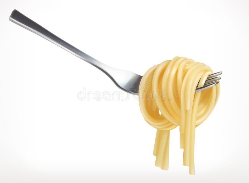 Pâtes sur la fourchette, icône de vecteur illustration stock