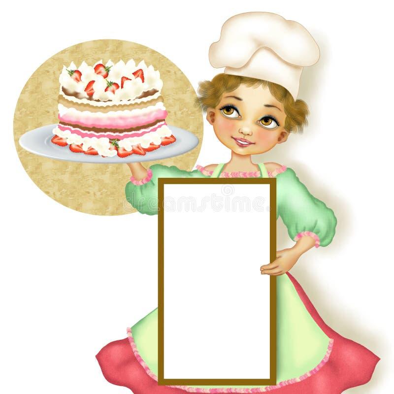 Pâtisserie de femme de chef avec le tarte bourré illustration libre de droits
