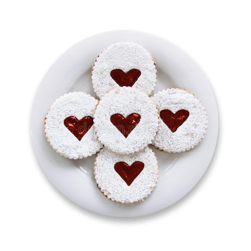 Pâtisseries avec le coeur de confiture d'un plat images libres de droits