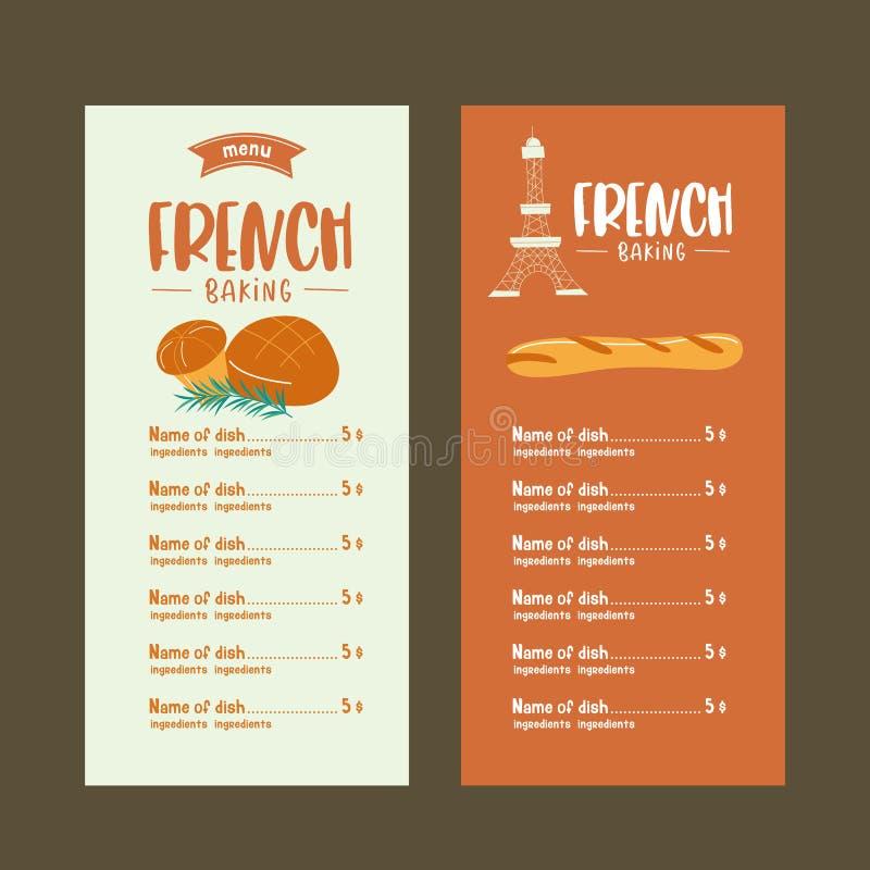 Pâtisseries françaises traditionnelles, pain Baguettes et brioche Vecto illustration libre de droits