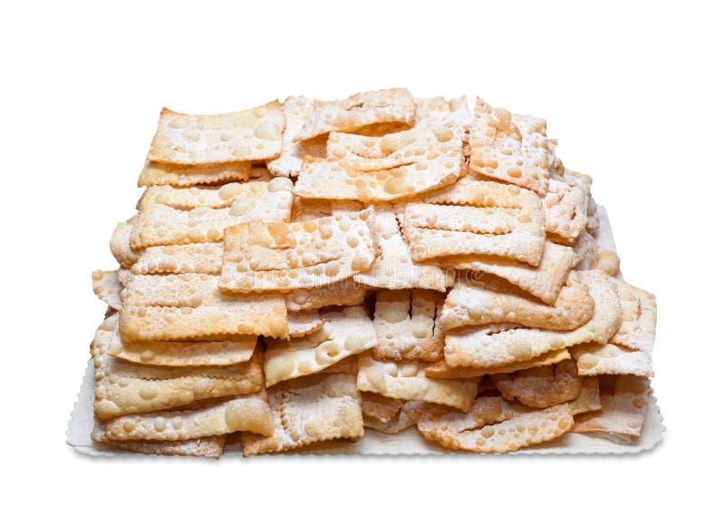 Pâtisseries frites par Italien de Chiacchiere ou de milk-shake images libres de droits