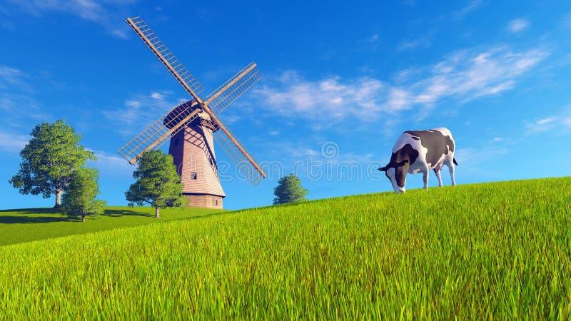 Pâturage de la vache et du moulin à vent chinés illustration de vecteur