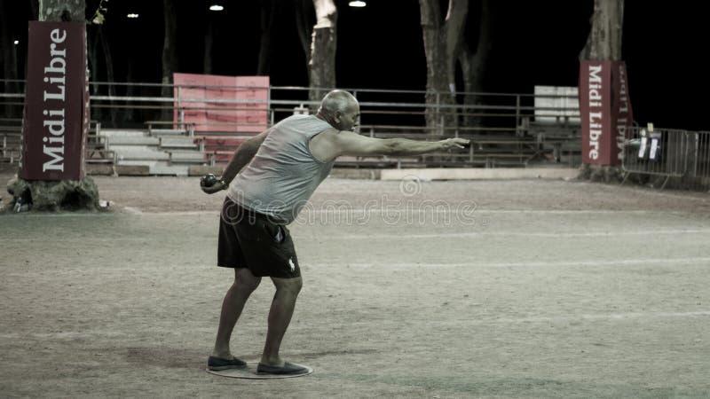 Pétanque gracze przy 46th Pézenas obywatelem Pétanque zdjęcia stock