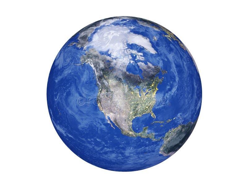 Północna Ameryka na planety ziemi kuli ziemskiej odizolowywającej na białym tle Elementy ten wizerunek meblujący NASA ilustracja wektor
