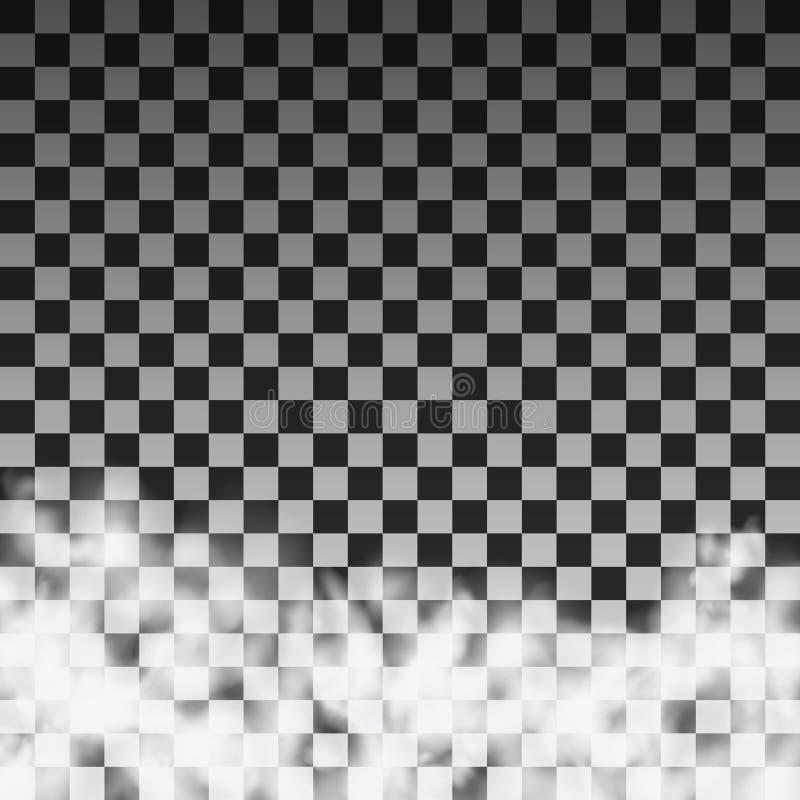 Półprzezroczysty dymnej chmury szablon na przejrzystym tle ilustracja wektor