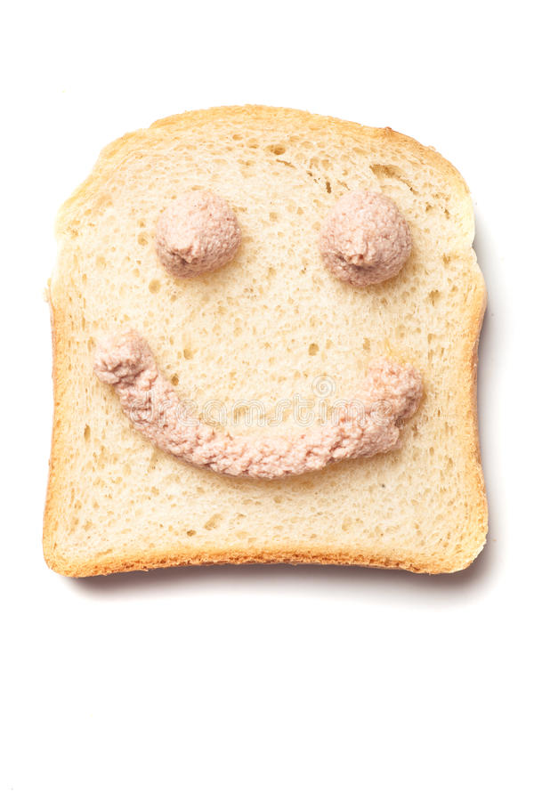 Pâté smiley στη φέτα του ψωμιού στοκ φωτογραφία με δικαίωμα ελεύθερης χρήσης