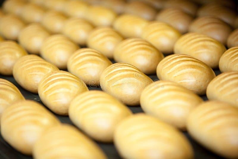 Pães cozidos na produção fotografia de stock royalty free