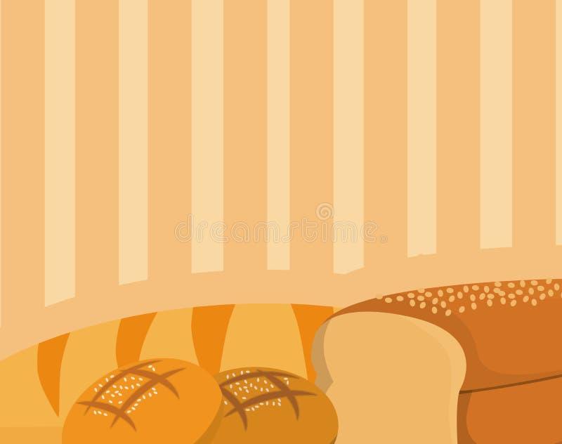 Pães sobre o fundo marrom ilustração do vetor