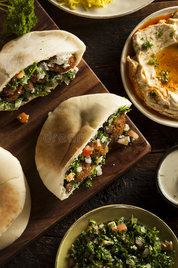 Pão árabe saudável do Falafel do vegetariano imagem de stock royalty free