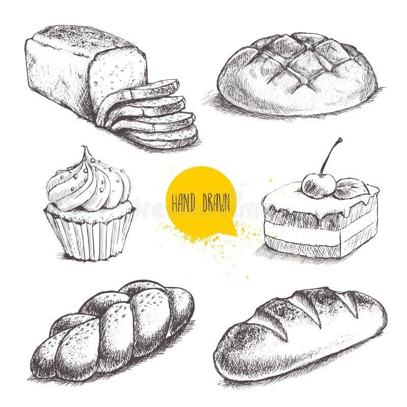Pão, bolo com cereja e queque do creme no fundo branco ilustração do vetor