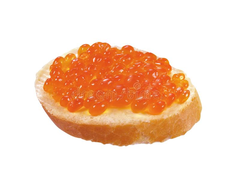 Pão branco, manteiga e caviar do sanduíche fotos de stock royalty free