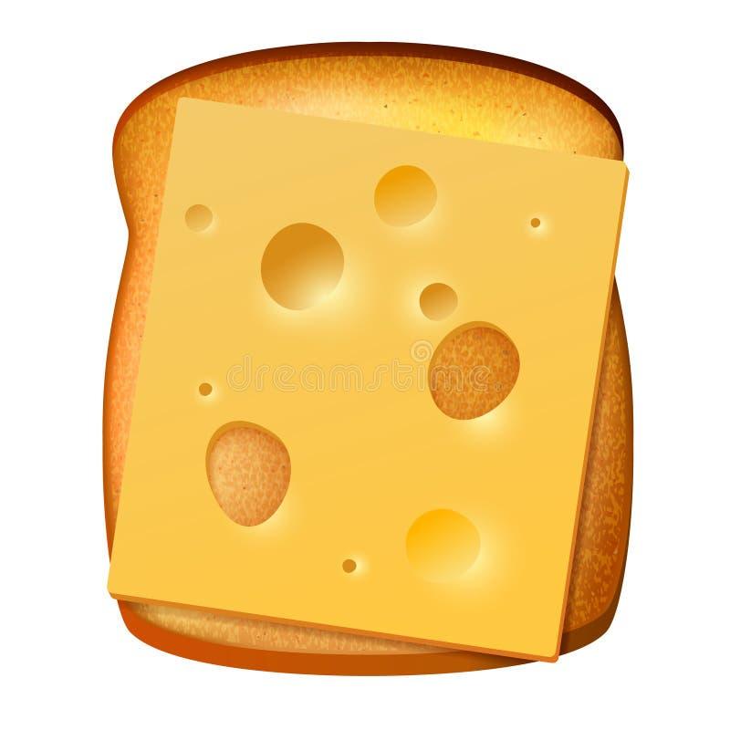 Pão brindado com fatia de queijo ilustração do vetor