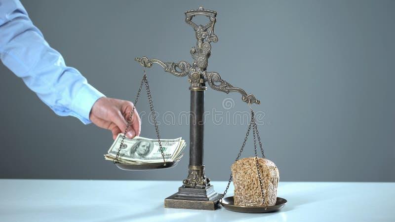 Pão com dólares em escalas, conceito dos preços em subida, instabilidade econômica fotografia de stock