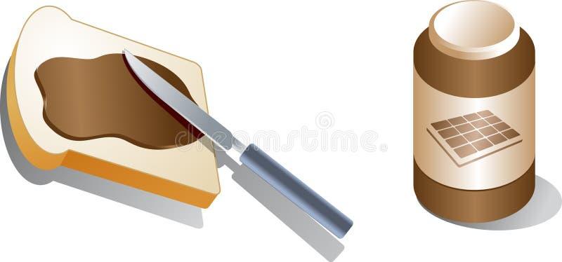 Pão com propagação ilustração do vetor