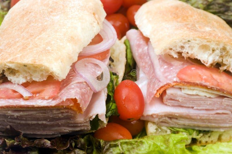 Pão combinado italiano do ciabatta do sanduíche do gourmet fotos de stock