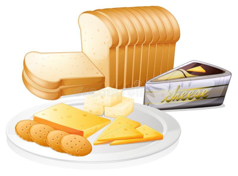 Pão cortado com queijo e biscoitos ilustração stock