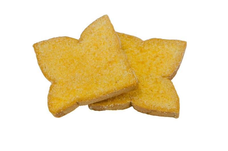 Pão cozido posto manteiga e polvilhado com os grânulo do açúcar imagens de stock royalty free