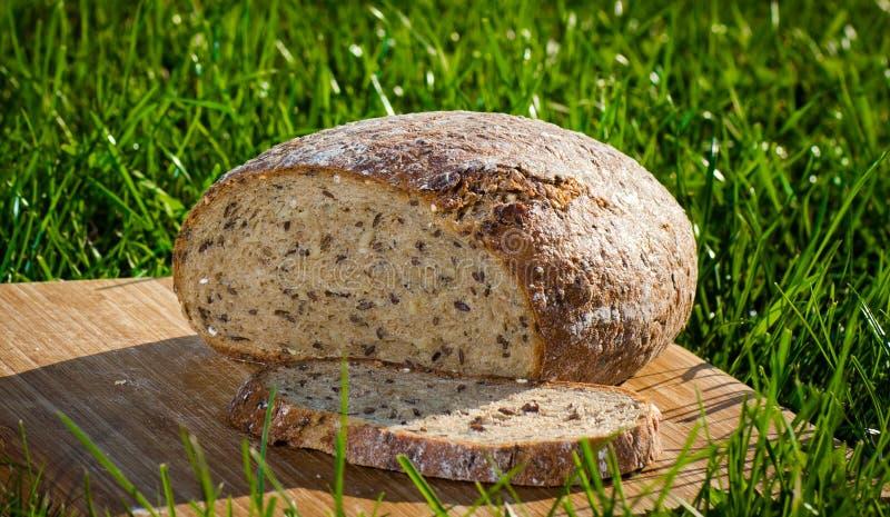 Pão da grão na grama verde fotos de stock royalty free