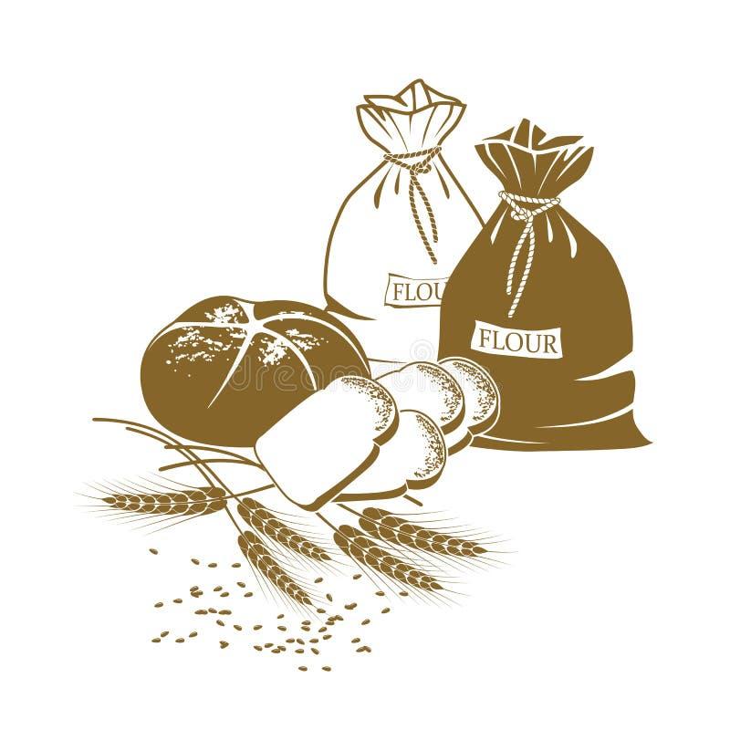 Pão da ilustração, orelhas do trigo e sacos da farinha ilustração stock