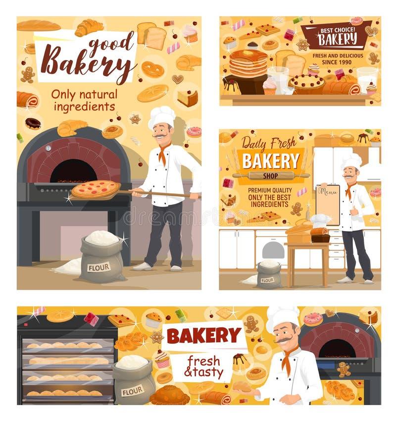 Pão da loja da padaria, pizza e bolos da pastelaria do padeiro ilustração royalty free